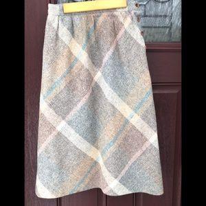 Vintage Wool A-Line Midi Skirt 6 Grey Blush Pink 6